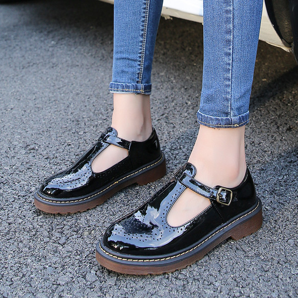 Women Flats Shoes 2019 Spring Autumn Fashion Brogue Round Toe Buckle Strap Sweet School Platform Casual Solid Plus Size 34-43