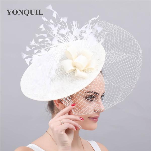 Kenducky derby fascinator marfil sombreros de la boda velos de novia headwear señoras elegantes mujeres chapeau malla gorras bandas para la cabeza de carrera del partido