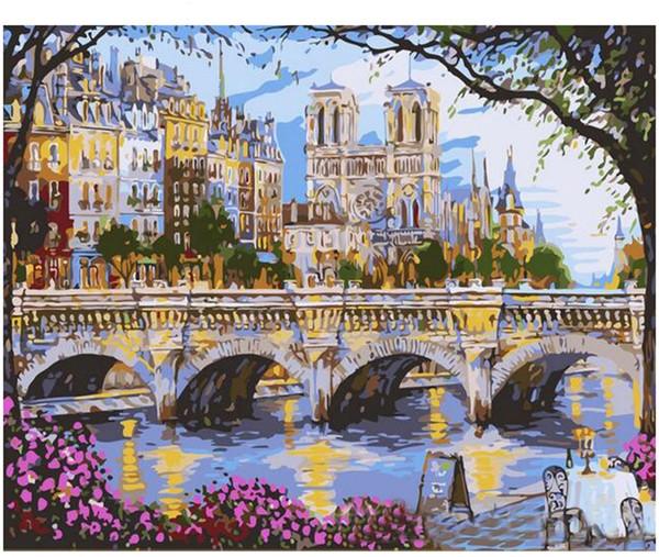 Yağlı Boya Numaralarına göre DIY Boyama Yetişkin El Boyalı Kitleri Boya-Avrupa köprüsü 16