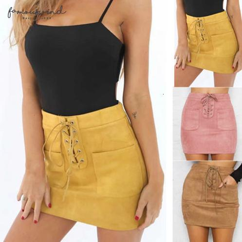 solid women up suede lace leather bandage high waist party pencil short mini skirt ladies womens brief solid daily skirts