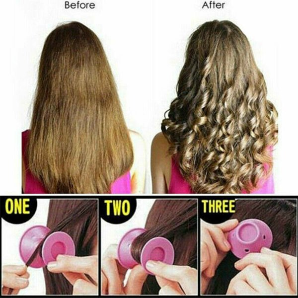 Soft Rubber Magic Hair Curlers Hair Style Roller Hairstyle Soft Care DIY Peco Roll Salon Soft Silicone Pink Color Hair Roller
