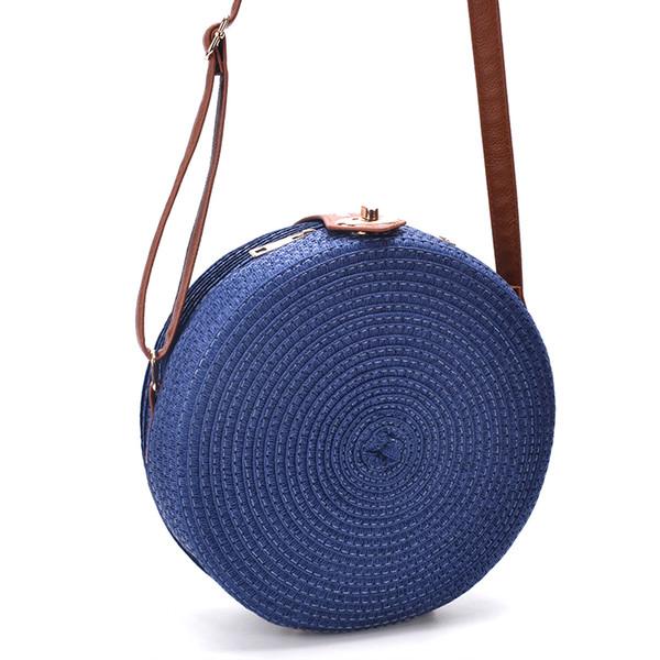 New 2019 Women Shoulder Bag round pp grass casual woven handbag retro wild crossboday straw bag beach bag