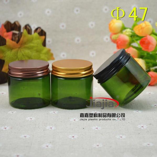 50 gramos verde tarro de PET, latas de crema 50g verdes, 50ml tarro de PET con bronce / / el oro negro de aluminio Cap Crema Jar empaquetado cosmético