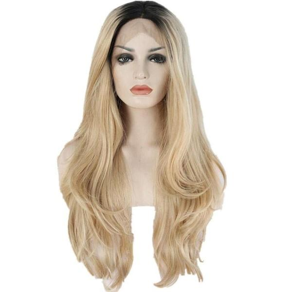 Free Shipping Middle Part Black Roots Ombre Blonde Long Wavy Synthetic Lace Front Wigs For Woman High Temperature Fiber Cosplay Party Wig