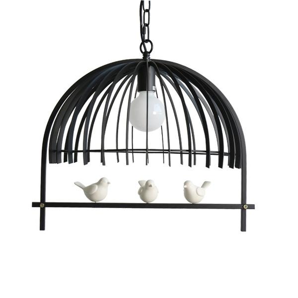Nordic Bird Cage Pendant Light White Black Metal Suspension Lamp Bar Living Room Bedroom Study Cafe Store Home Lighting F107 Brushed Nickel Pendant