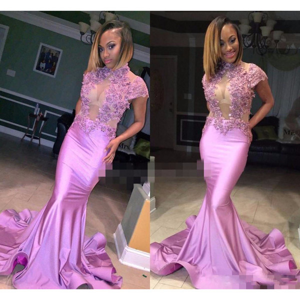 Light Purple Mermaid Prom Dresses 2019 New Cap Sleeve Beading Lace Applique Floor Length High Neck Formal Evening Dress Party Gowns