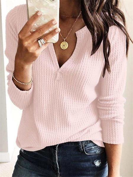 Frühling weibliche V-Ausschnitt Bluse Modedesigner Langarm T-Shirt Womens solide T-Shirt lässig weibliche Kleidung