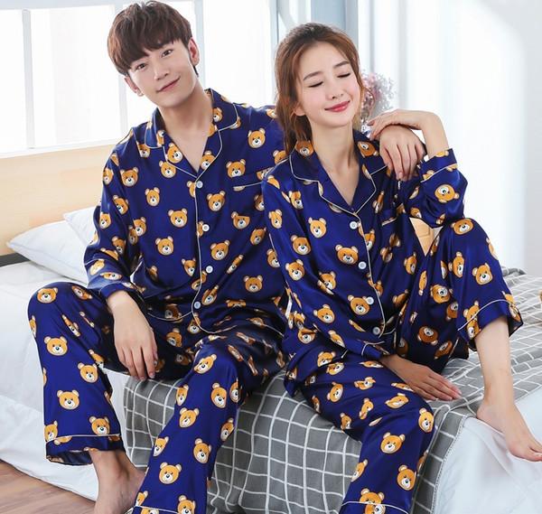 New Arrivals 2018 Lovers Pyjamas Women Silk Satin Pajama Sets Cartoon Bear Couple Pajamas For Women Sleepwear Sets Pijama Mujer SH190705