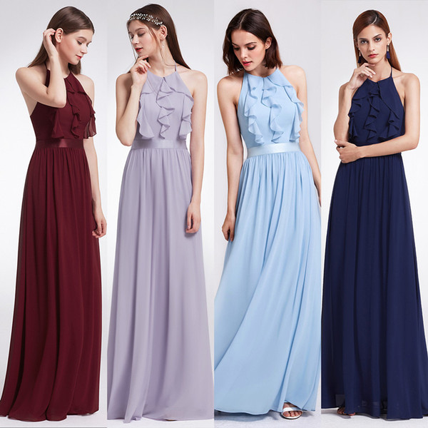 dc5c0084ebc Cheap Bridesmaid Dresses A-Line Pretty Halter Sleeveless Tiered Ruffle  Floor Length Evening Dress Back