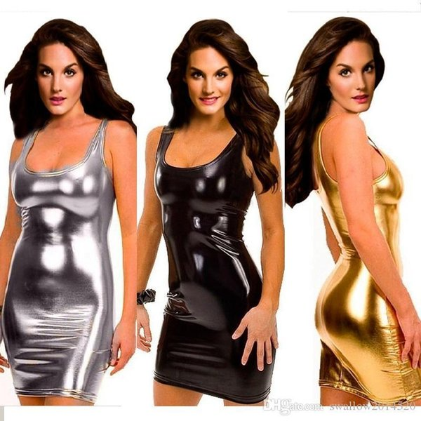 Plus Size S-5XL Women Black Gold Silver Sexy Leather Dress Latex Club Wear Costumes Clothing PVC Lingerie Catsuits Cat Suits Sex Products