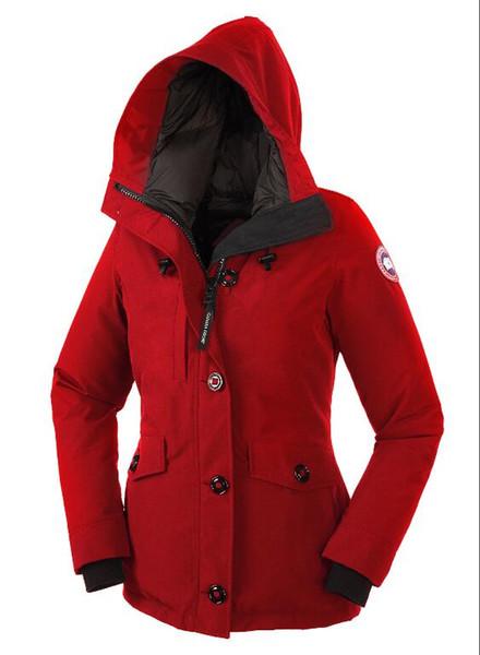 Высокое качество женщин канада 90% содержание гусиные волосы холодное теплое пальто паркер дамы марка спорта на открытом воздухе пух парки бесплатная доставка