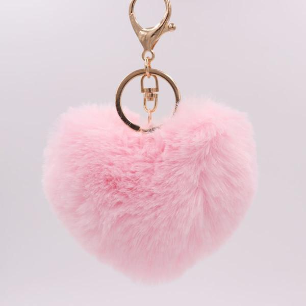 26 Colors Fashion Women Handbag Pendant Charm Heart Shape Decor Pompom Keychain Soft Plush Rex Rabbit Fur Heart Shaded Keychains