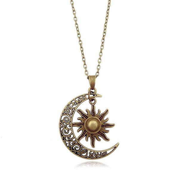 Damenmode Mond Und Sonne Halbmond Anhänger Halskette Retro Vintage Lange Pullover Kette Unisex Schmuck Geschenke Silber Bronze