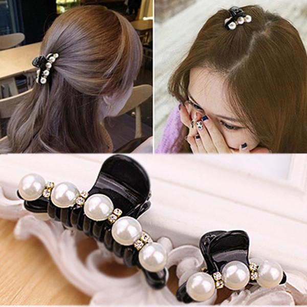 Black Big Rhinestone Hairpins For Women Pearl Hair Clips Crab Hair For Girls Barrettes Headwear Pins Accessories
