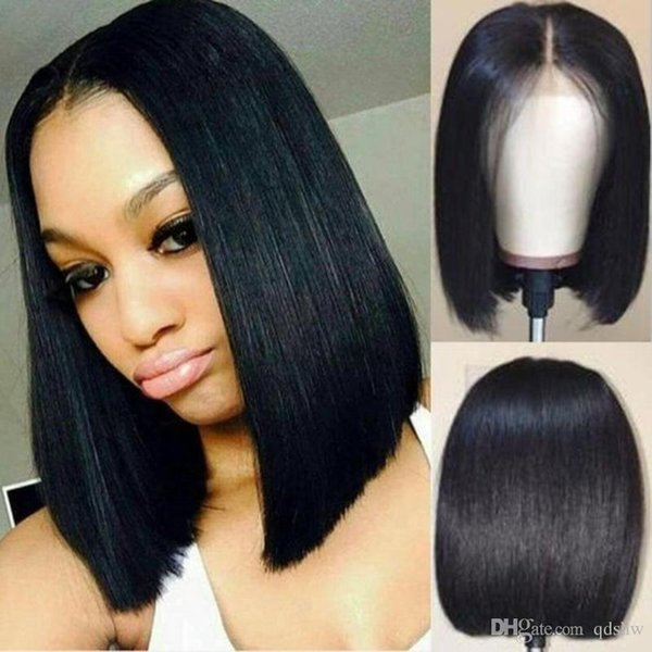 Short Full Lace Wigs Brazilian Human Hair Pre Plucked Glueless Virgin Hair Lace Front Bob Wigs Short Styles Middle Part For African American