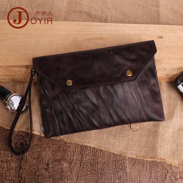 Joyir Men Wallets vintage de cuero genuino Mens Clutch Card Holder Phone Pocket gran capacidad de negocios larga cartera para hombres