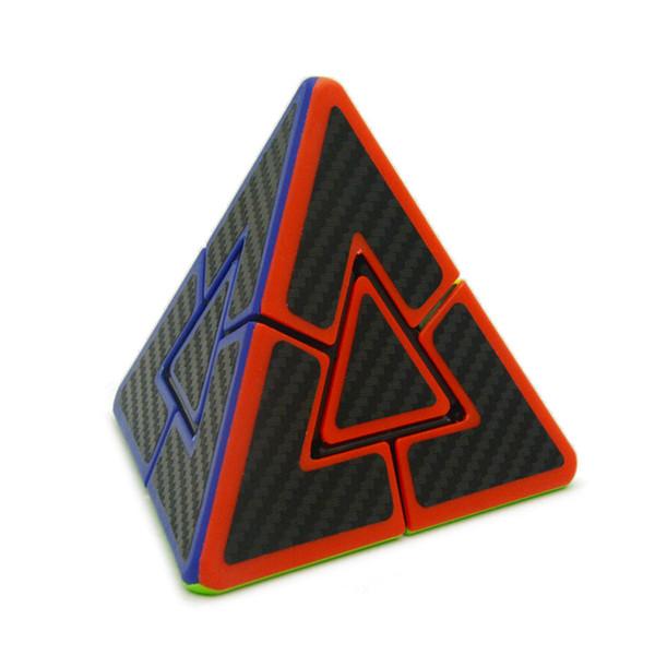 Etiqueta De Fibra De carbono Triângulo 2x2x2 Pirâmide Cubo Mágico Velocidade Enigma 2x2 Cubo Educacional Fidget Magico Cubo Brinquedos presentes