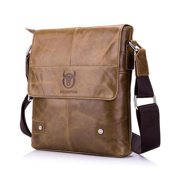 BULLCAPTAIN Bolso maletín para hombre Bolso bandolera de cuero genuino para hombre Bolsas para pequeñas empresas Bolsos de cuero de mensajero masculino