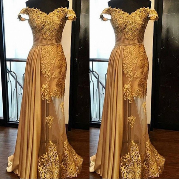 Off The Shoulder Long Prom Party Dresses 2019 Arabic Golden Tulle Applique Ruched Beaded Floor Length Pageant Formal Evening Gowns