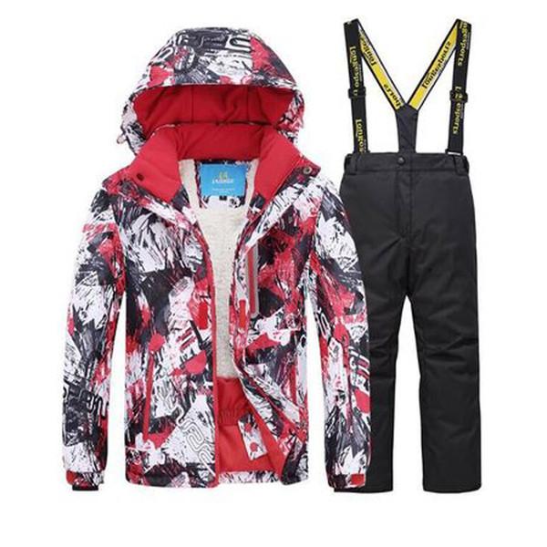 Conjunto de traje de esquí para niños Pantalones de esquí Ropa de diseñador para niños Niños Niñas Engrosamiento Mantener caliente Tablero doble de esquí Pantalones cortaviento 19