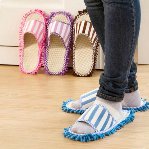 heap Cleaning Cloths Hoomall Dust Cleaner Slippers Detachable Floor Wipe Striped Chenille Lazy Shoes Cover Bathroom Microfiber Floor Clea...