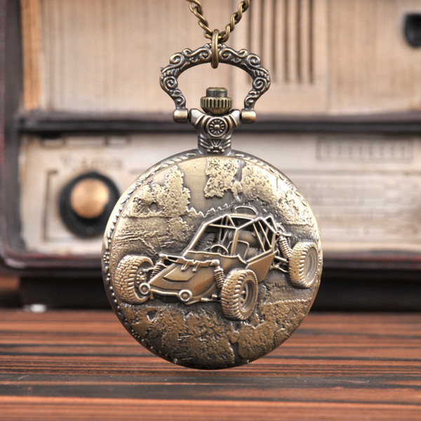 Large Vintage Bronze Cool Car with Four Wheels A Best Gift for Game Pocket Watch with waist chain
