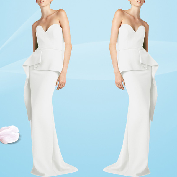 Unique Design Elegant White Evening Dresses Strapless Slim Fit Mermaid Prom Dresses Floor Length Mother Of Bride Gowns