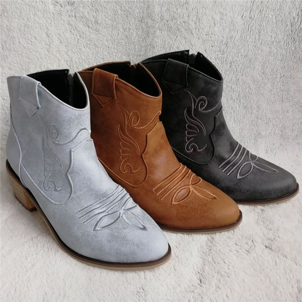 ZETMTC Women Chunky Block Mid Heel Cowgirl Booties Side Zipper Comfort Round Toe Ladies Cowboy Western Ankle Boots Plus Size 45
