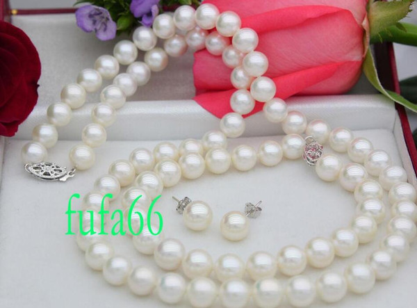 "New Fine pearl jewelry natural 18"" 8-9MM WHITE AKOYA PEARL NECKLACE SET 100% NATURAL 18"" 8-9MM WHITE AKOYA PEARL NECKLACE SET 14K"