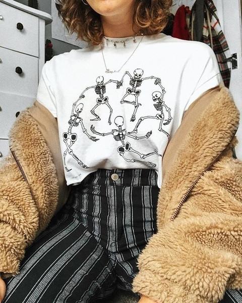 Kuakuayu Hjn Women Skeleton Dance T-shirt Tumblr Grunge Aesthetic White Tee Hipster Art Hoe Shirt Y19042702