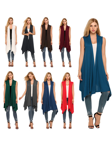 Womens Designer Mäntel Sommer Casual Mature Hot Style Einfarbig Medium Sleeveless Unregelmäßige Westen Womens Fashion Clothing