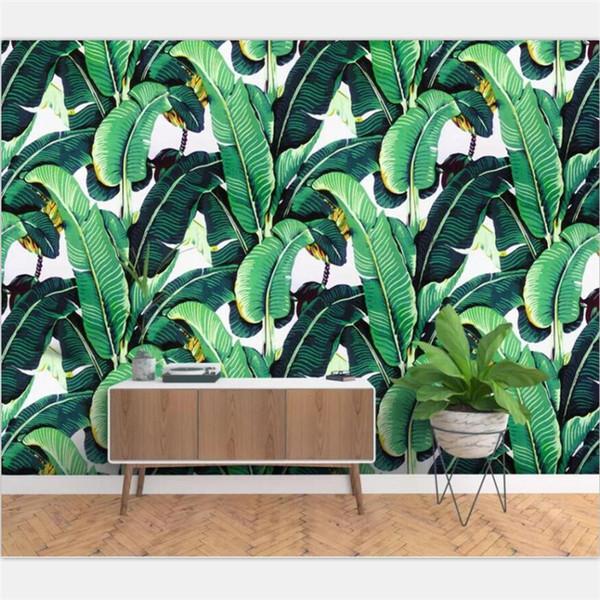 Carta da parati personalizzata decorazione della casa murale Europeo retrò dipinto a mano pianta della foresta pluviale foglia di banana parete murale