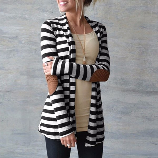 Casual Elbow Patchwork Knitted Sweater Plus Size Outerwear Spring Cardigan Women Long Sleeve Striped Printed