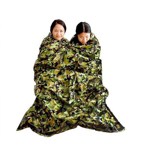 Camouflage Survival Emergency Sleeping Bag Portable Keep Warm Impermeabile Coperta di pronto soccorso Outdoor Travel Sacchi a pelo da campeggio TTTA1481