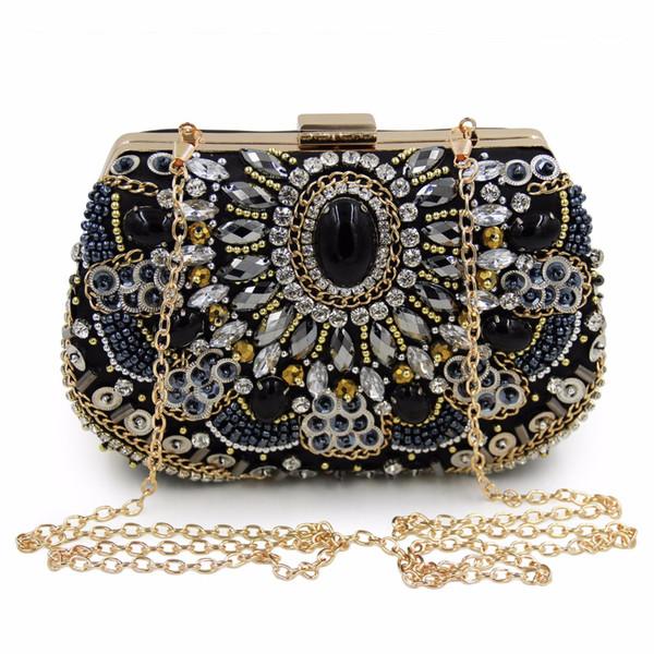 Drill-in Dinner Bag Banquet handbag Black gemstone bag Pure hand embroidery Dresses and handbags Restoration Dinner Bag