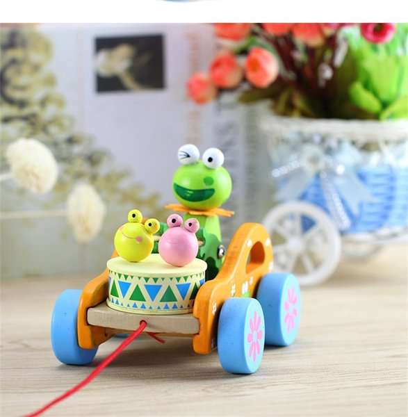 Mung Bean Frog Drum Pulling Car Modeling Kids Fun Juguetes de madera Cute Educational Model Toys 6 6fq E1