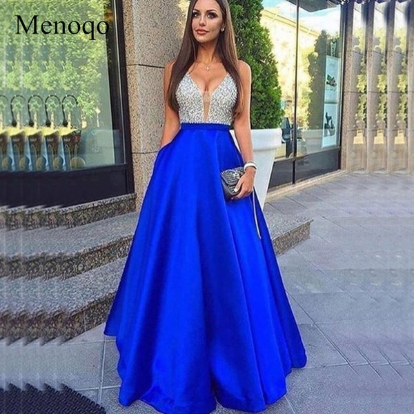 Menoqo V-neck Beads Bodice Open Back A Line Long Evening Dress Party Elegant Vestido De Festa Fast Shipping Prom Gowns Y19042701