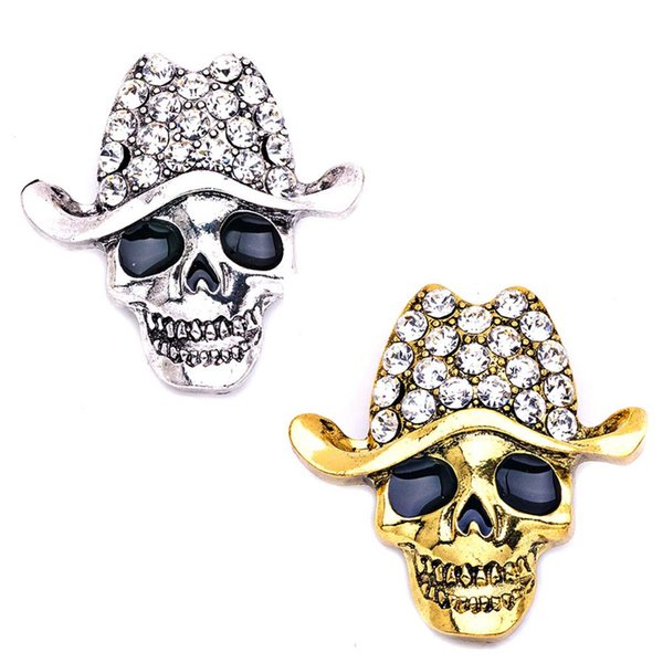 Exquisita broche de gama alta de moda con forma de calavera Broche de cristal Sombrero de vaquero Pañuelo Nudo Decoración de Halloween