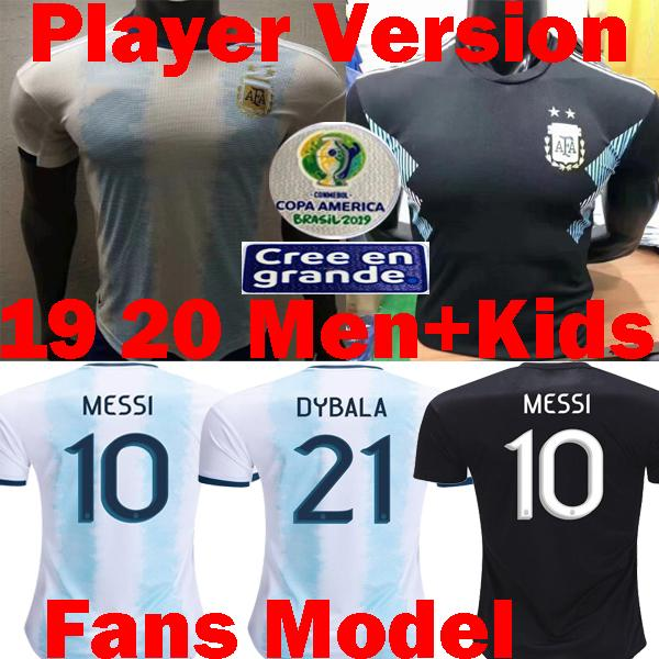 Versión del reproductor 2019 2020 Argentina Copa América MESS Fútbol Camisetas Argentina Dybala ICARDI AGUERO maillots 19 20 camisetas de fútbol