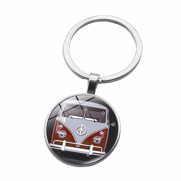 Cross-border new accessories Anti-war peace sign time gemstone keychain Silver alloy pendant key ring Metal creative key ring