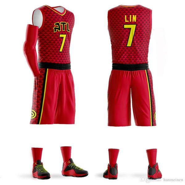 Fertigen Sie die roten schwarzen weißen Collegebasketballuniformen der Basketballjerseys der Männer besonders an, die freier Entwurfssport Großhandelsjerseys-Sätze freies Verschiffen einstellt
