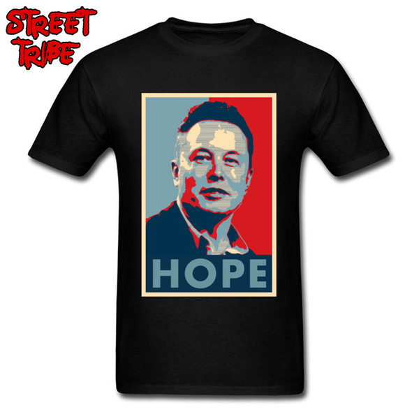 Camiseta Elon Musk Hope Poster para hombre Lanzador de espacio X Camiseta Hippie Negro Rojo Tops Camisetas Famoso ingeniero Imprimir camisetas