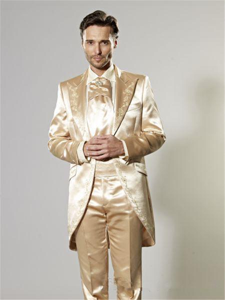 Los últimos diseños de pantalón dorado satinado novios esmoquin bordado sastre hombre traje 2 piezas para hombre de bodas trajes de fiesta por la mañana