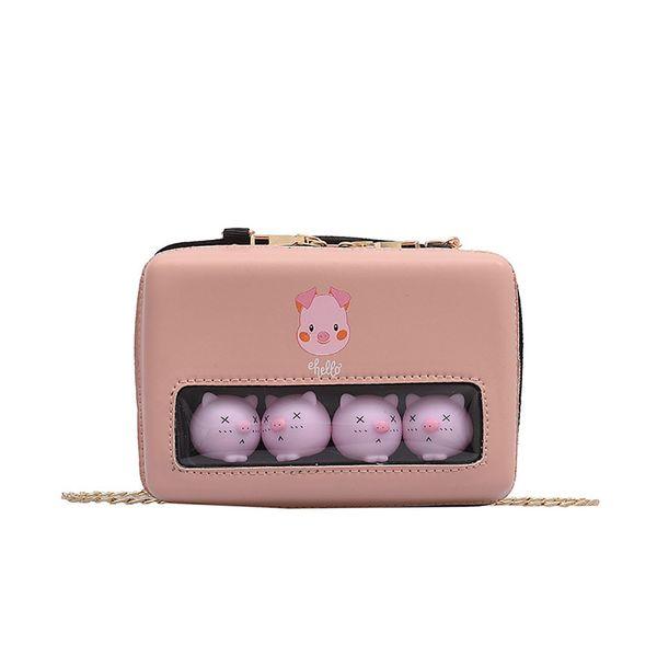 Korean Transparent Messenger Bag Cute Pig Diagonal Bag Small Fresh Mobile Phone Shoulder Messenger Handbag Bolsos Mujer