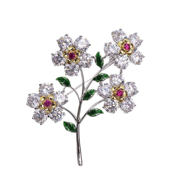 New high-end Korean female brooch set with zircon flowers retro style corsage fashion temperament ladies pin clothing accessories
