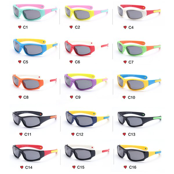 16 Color Children's Fashion Riding Sports Sunglasses Boys Girls Kids Sunglasses Polarized TR90 UV400 Baby Glasses Silicone Glasses
