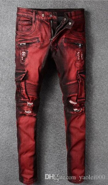 Außenhandel heißen Herren Motorradhose rot großen Taschen Overalls Europa und Amerika High Street Punk-Stil Slim Jeans Hose
