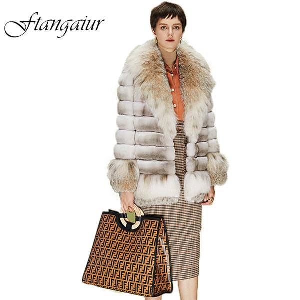 Ftangaiur 2019 Winter importación champán Raras capa gris Medio Natural Color Chinchilla abrigos de pieles de alta lujo de las mujeres Chinchilla