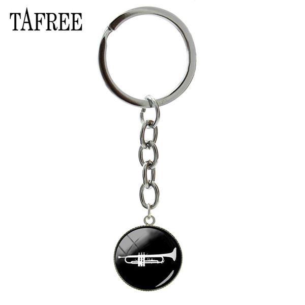 TAFREE trompette porte-clés instrument de musique à la mode tromba cornetto vintage porte-clés anneau musique corne bijoux musicien cadeau B1357