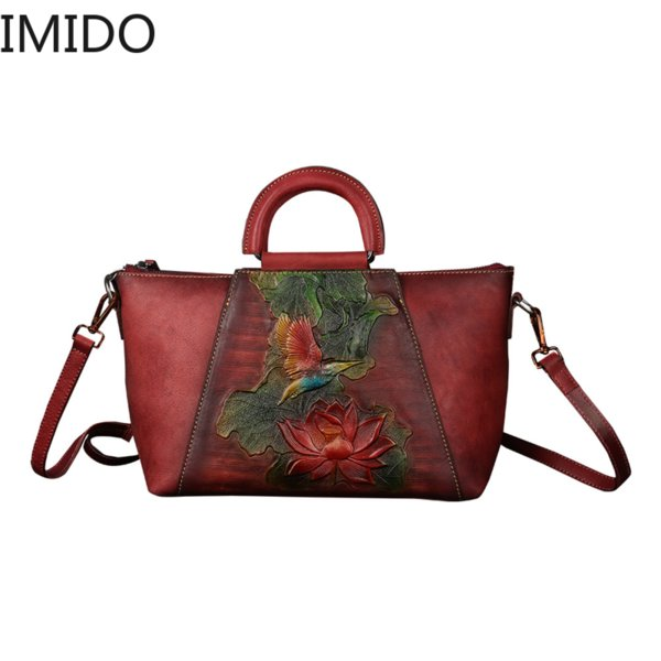 IMIDO 2019 Leather Cowhide Women's Single Shoulder Hand-painted Embossed Bat Womans Bags Brand Designers Famous Genuine Leather
